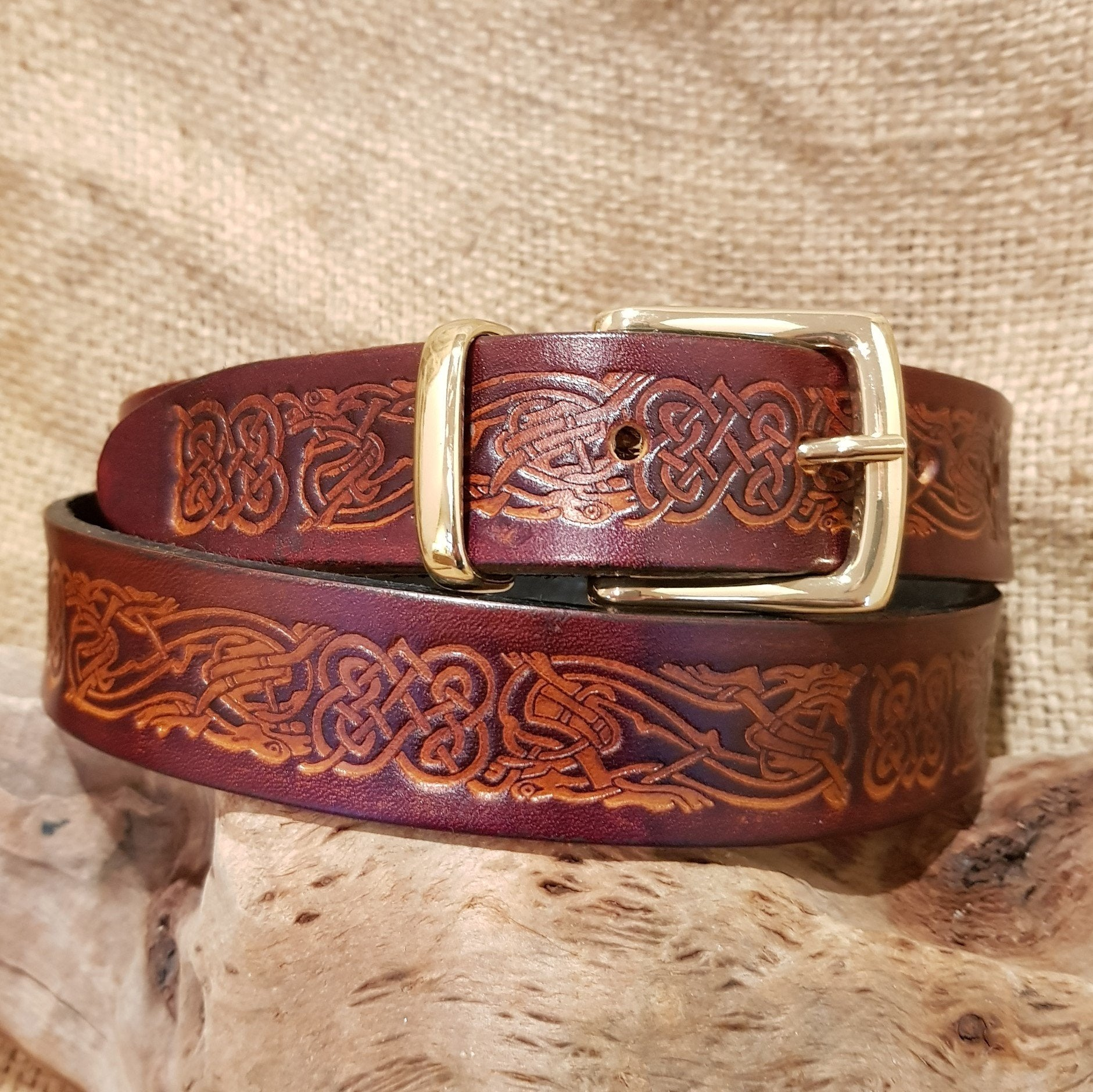 Brown leather celtic dragon belt