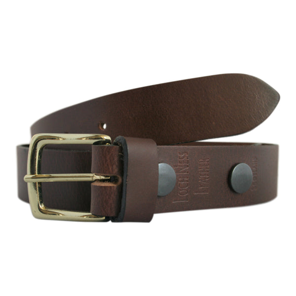 Brown vegetable tanned leather belt