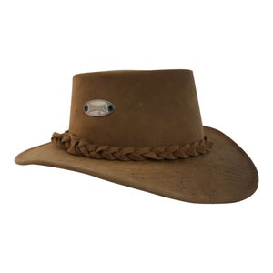 Viking tan coloured leather bush hat cut out
