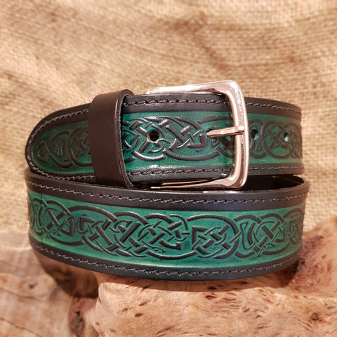 Green celtic wide leather belt
