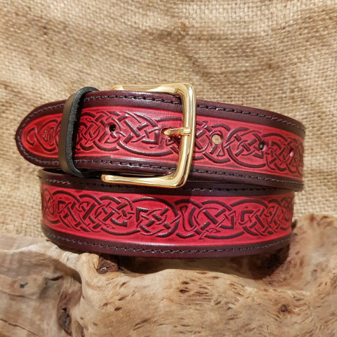 Red wide leather celtic belt