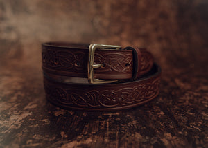 Handmade brown belt with celtic design