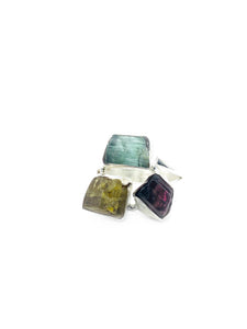 """The Statement Trio"" - Limited edition Multi Tourmaline Ring finished in Sterling silver"