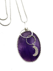 """The Amethyst Moon"" - Sterling silver & Premium Large Amethyst focal pendant"
