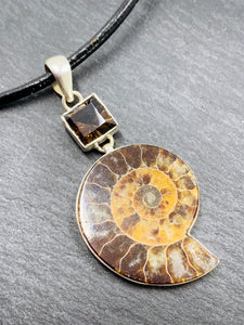 """The Fossil Jewel"" - Ammonite and Smoky Quartz Sterling silver Pendant chain"