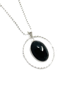 """The Healing Stone"" - Sterling silver and Black spinel Gemstone pendant"