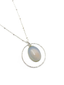 """The Lucid One"" - Sterling silver and Natural Blue Chalcedony Pendant chain"