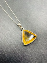 """The Yellow Amulet - 2"" - Large Citrine & Sterling Silver Pendant chain"