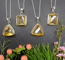 """The Golden Square"" - Golden yellow citrine and Sterling silver Pendant chain"