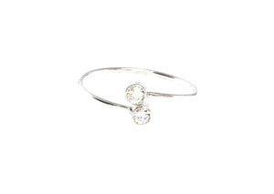 Adjustable Sterling Silver Cubic Zirconia Ring