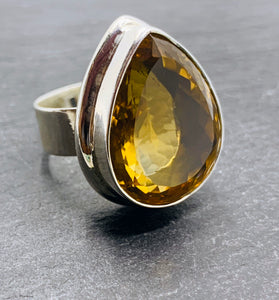 """Drop of Honey"" - Limited edition Citrine Ring- Size N 1/2"