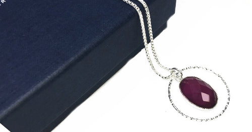 'The Red amulet' - Garnet Pendant chain