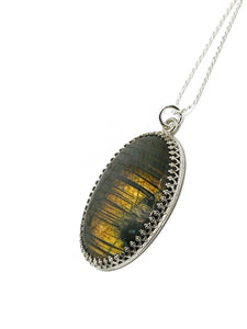 """The Golden Forest"" - Labradorite and Sterling silver Pendant Chain"