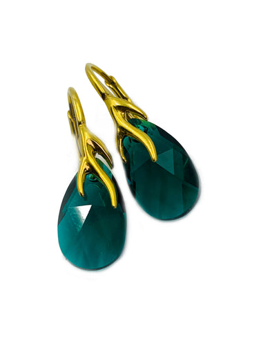 Gold plated Sterling silver lever back earrings made with Green crystals