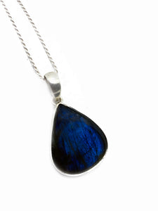 """The Blue Pear"" - Limited edition Labradorite & Sterling silver pendant chain"