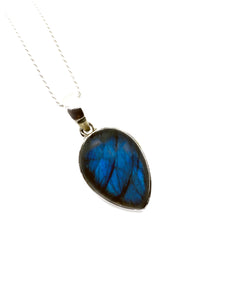 """The Blue Drop"" - Limited edition Labradorite & Sterling silver Pendant chain"