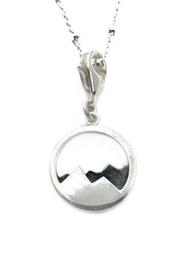 Sterling silver Abstract Oxidised Mountain Range Charm Pendant with Chain