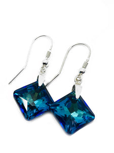 Sterling silver and Princess cut crystal earring drops