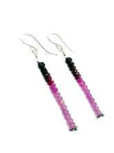 """Ombre Pink Dangles""- Ruby and Pink Sapphire beaded Sterling silver dangle earrings"