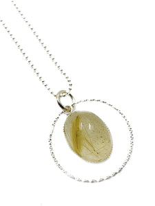 """The Golden seal"" - Sterling silver and Golden rutilated quartz pendant"