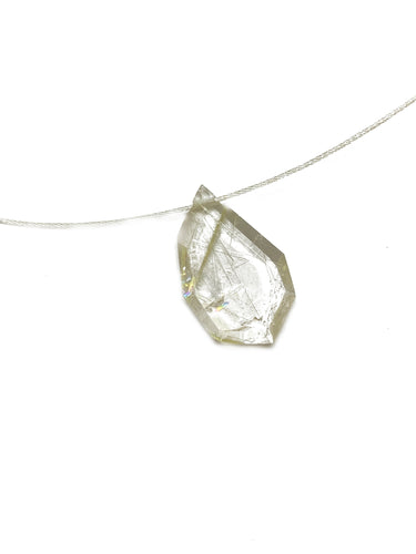 Sterling silver and Golden Rutile Quartz illusion necklace