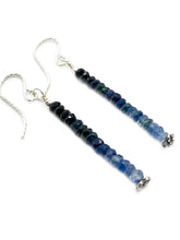 """Ombre Blue Dangles"" - Blue Sapphire bead earrings in sterling silver"