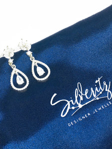 'Sparkles' - Sterling silver and cubic zirconia drop earrings