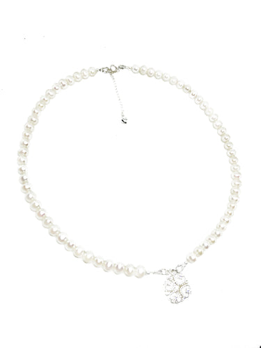 'Diva' -Freshwater pearl necklace with 2-in-1 CZ Pendant