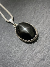 """The Black Star ""- Star diopside and sterling silver pendant chain"
