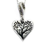 Etched tree in heart - Sterling silver Charm pendant chain