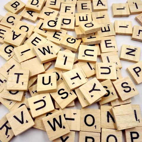 100 Wooden Scrabble Tiles, Black Letters