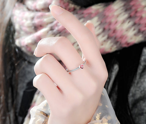Silver Love Heart Ring for Women