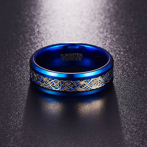 Blue Tungsten Carbide Celtic Ring