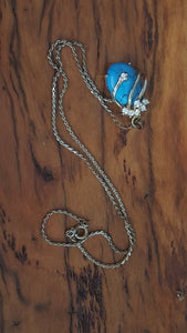 Vintage boxed Lyceum Turquoise stone 18KGP pendant clear crystals necklace