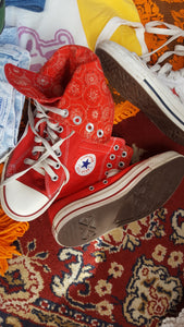 Red converse high tops size 9