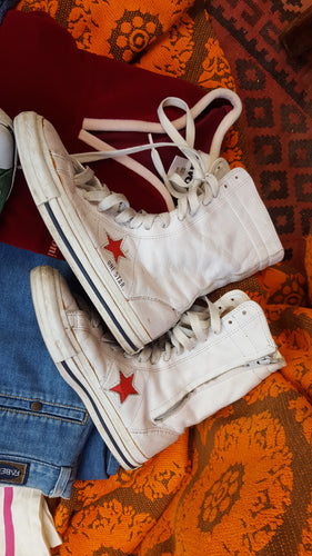 Leather converse high tops 8