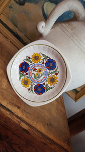 vintage bohemian clay hand painted plate