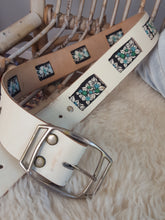 Leather belt embroidered detail size XS