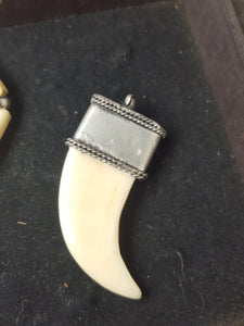 Tooth bone silver pendant