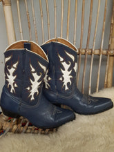 VINTAGE WOMEN'S LEATHER COWBOY BOOTS IN BLUE 7.5