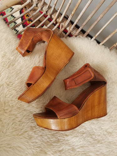 70s wedge platform shoes size 38