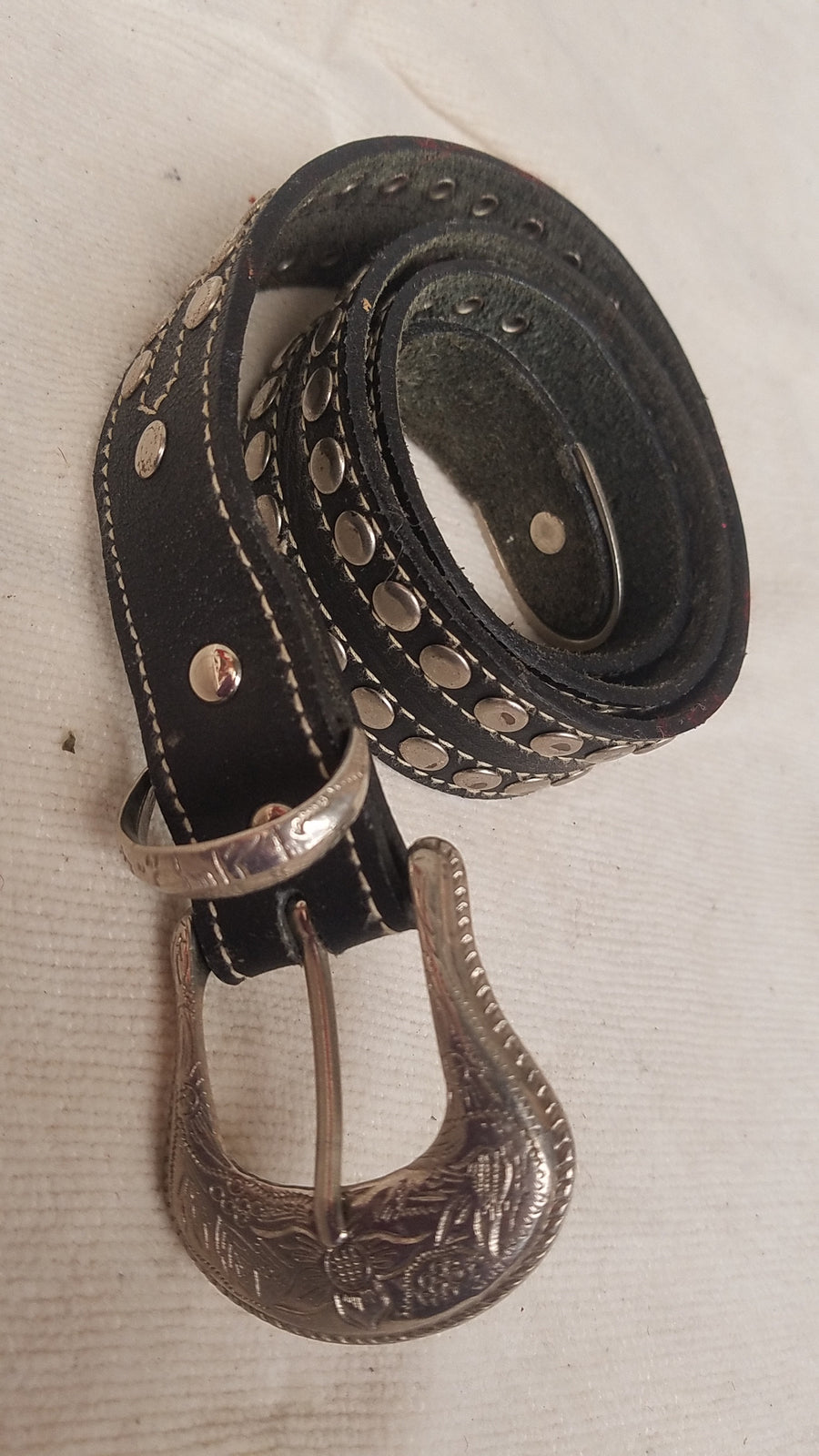 western studded leather belt
