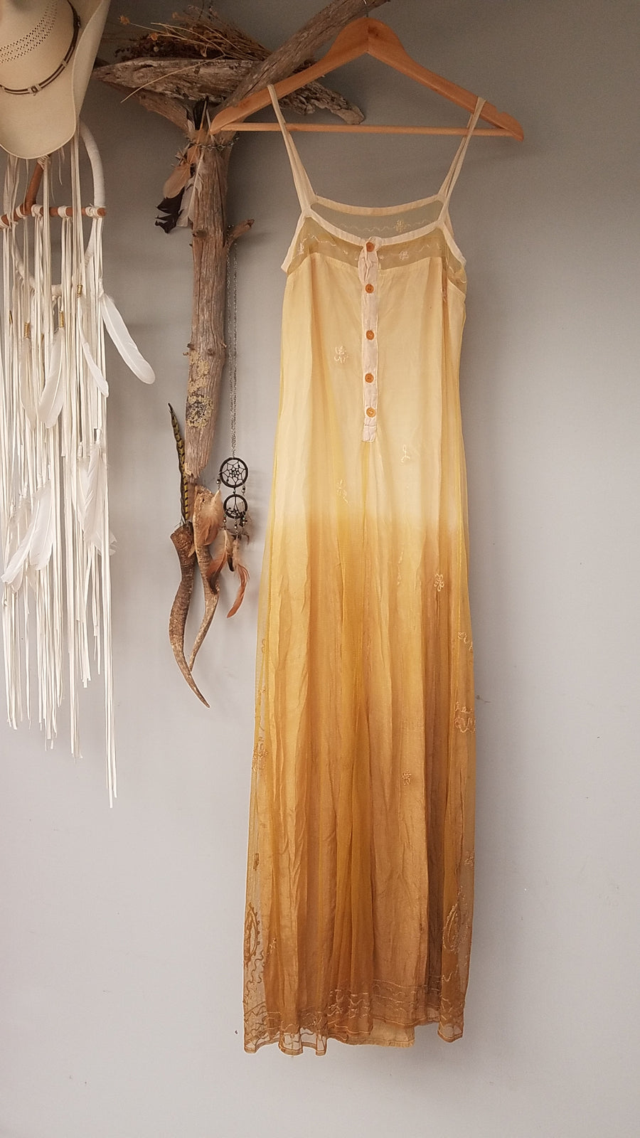 SUPERB BOHO HIPPY - MADE in INDIA - EMBROIDERED MAXI DRESS by 'INDIAN ROSE' SM