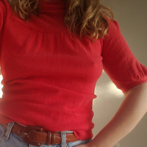 Vintage 70s red wool turtleneck sweater
