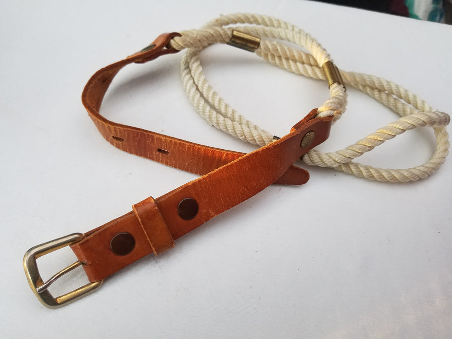 vintage tan leather rope belt