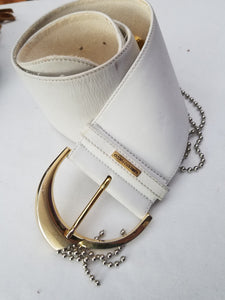 Leather Belt Wide Humberto Fiacco White Size Small/ Medium