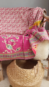 Reversible kantha throw