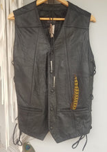 Black Leather Motorcycle vest mens or womans