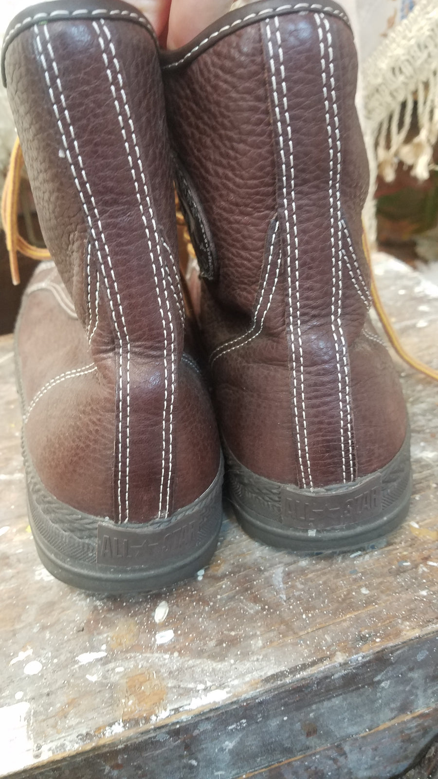 Brown Leather Converse Boots Military style!! size mens 8 womans 9.5