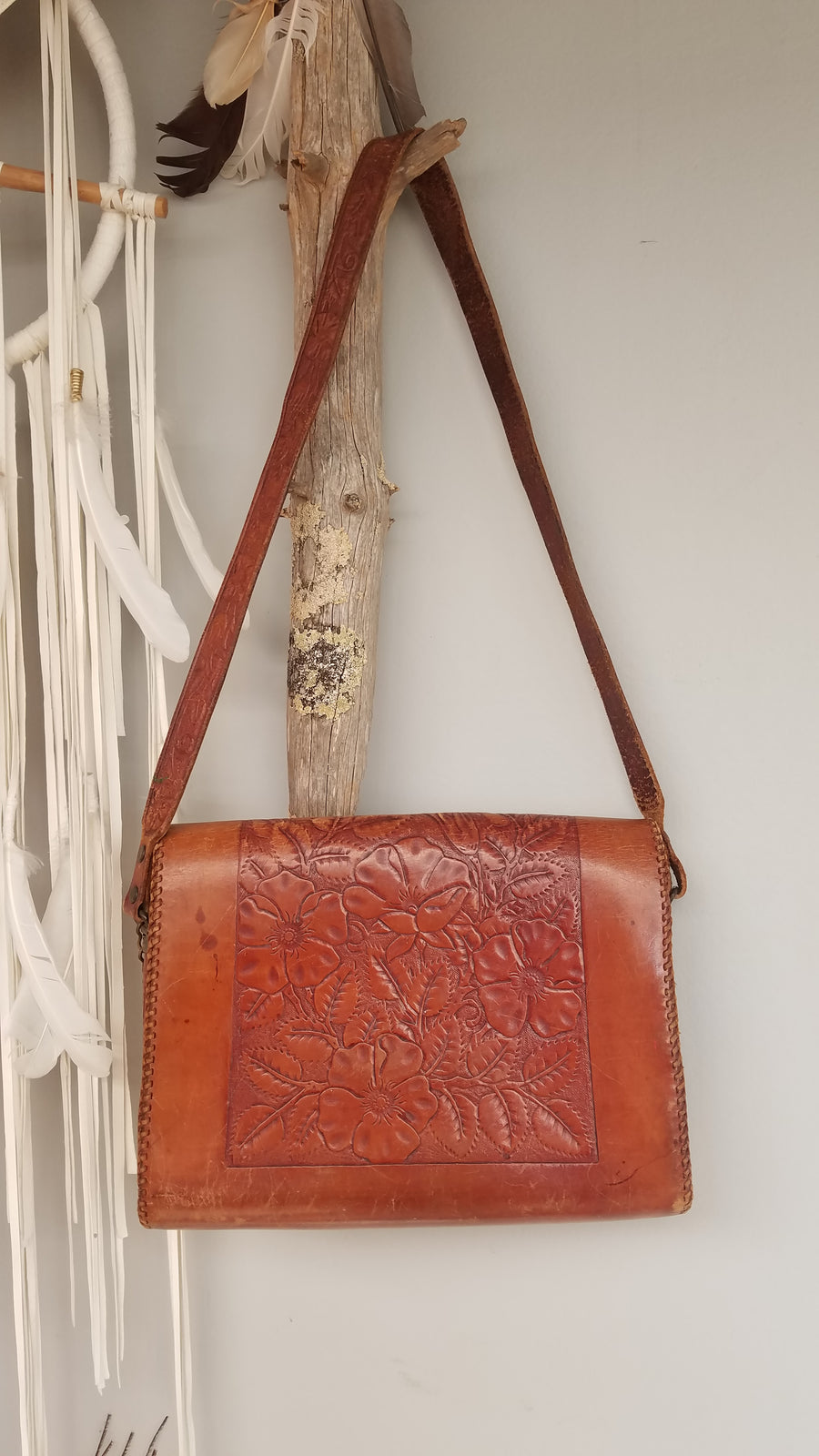 Tooled hand painted floral vintage bag